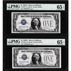 (2) Consecutive 1928A $1 Silver Certificate Notes Fr.1601 PMG Gem Uncirculated 65EPQ