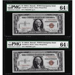 (2) Consec. 1935A $1 Hawaii WWII Emergency Silver Certificate Notes PMG Ch. Unc. 64EPQ