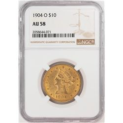 1904-O $10 Liberty Head Eagle Gold Coin NGC AU58