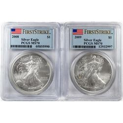 Lot of 2008-2009 $1 American Silver Eagle Coins PCGS MS70 First Strike