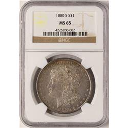 1880-S $1 Morgan Silver Dollar Coin NGC MS65 Nice Reverse Toning