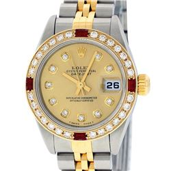 Rolex Ladies Two Tone 18K Quickset Champagne Diamond & Ruby Datejust Wristwatch