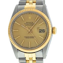Rolex Men's Two Tone 14K Champagne Index 36MM Datejust Wristwatch