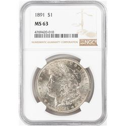 1891 $1 Morgan Silver Dollar Coin NGC MS63