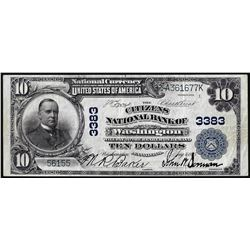 1902 PB $10 Citizens NB of Washington, Pennsylvania CH# 3383 National Currency Note