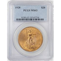 1928 $20 St Gaudens Double Eagle Gold Coin PCGS MS63
