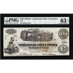 1862 $100 Confederate States of America Note T-40 PMG Choice Uncirculated 63EPQ