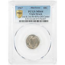 1967 Roosevelt Dime Coin Triple Struck Off Center ERROR PCGS MS64