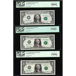 Lot of (3) $1 Federal Reserve STAR Notes PCGS Superb Gem New 67PPQ/68PPQ