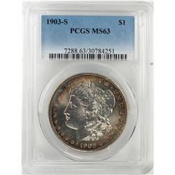 1903-S $1 Morgan Silver Dollar Coin PCGS MS63 Nice Toning