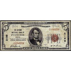 1929 $5 Citizens NB of Evansville, IN CH# 2188 National Currency Note