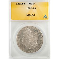 1881-S $1 Morgan Silver Dollar Coin ANACS MS64