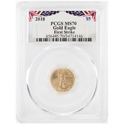 2018 $5 American Gold Eagle Coin PCGS MS70 First Strike