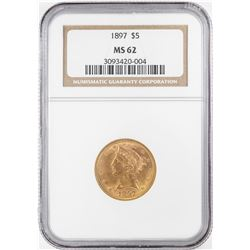 1897 $5 Liberty Head Half Eagle Gold Coin NGC MS62