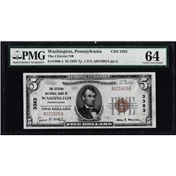 1929 $5 NB Washington, PA CH# 3383 National Currency Note PMG Choice Uncirculated 64