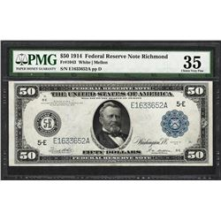 1914 $50 Federal Reserve Bank Note Richmond Fr.1043 PMG Very Fine 35