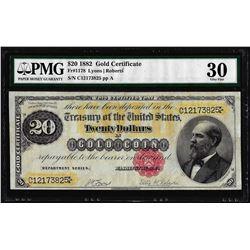 1882 $20 Gold Certificate Note Fr.1178 PMG Very Fine 30