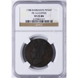 1788 Barbados Copper Penny NGC VF 25 BN