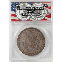 1892 $1 Morgan Silver Dollar Coin ANACS Certified Genuine