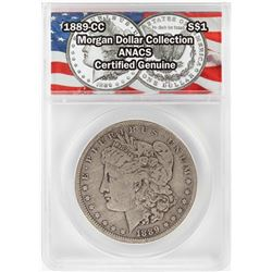 1889-CC $1 Morgan Silver Dollar Coin ANACS Certified Genuine