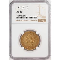 1847-O $10 Liberty Head Eagle Gold Coin NGC XF45