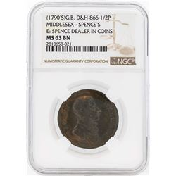 1790's Great Britain 1/2 Penny Middlesex Spences NGC MS63BN