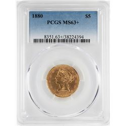 1880 $5 Liberty Head Half Eagle Gold Coin PCGS MS63+
