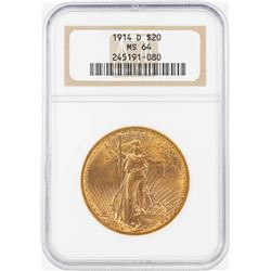 1914-D $20 St. Gaudens Double Eagle Gold Coin NGC MS64