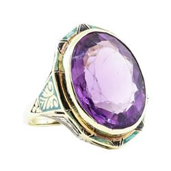 17.32 ctw Amethyst and Multi-Colored Enamel Ring - 14KT Yellow Gold