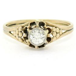Antique 14kt Yellow and White Gold 0.30 ctw Diamond Solitaire Ring