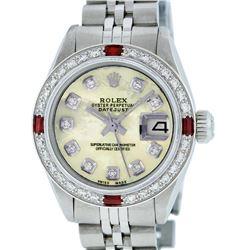 Rolex Ladies Stainless Steel Yellow MOP Diamond & Ruby Datejust Wristwatch