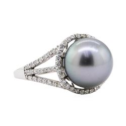 0.53 ctw Pearl and Diamond Ring - 14KT White Gold