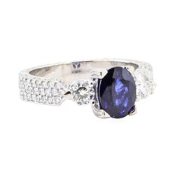 2.77 ctw Sapphire And Diamond Ring - 18KT White Gold