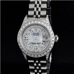 Rolex Ladies Stainless Steel 18K Gold Bezel MOP Diamond Lugs Datejust Watch
