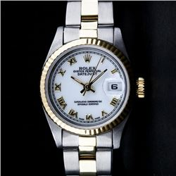 Rolex Ladies 2 Tone 14K Gold Yellow Gold & Stainless Steel White Roman 26MM Date