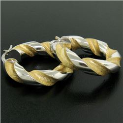 Italian 18K Two Tone Gold 27mm Textured Twisted Drill Bit Pattern Hoop Earrings