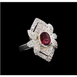 1.54 ctw Pink Tourmaline and Diamond Ring - 14KT White Gold