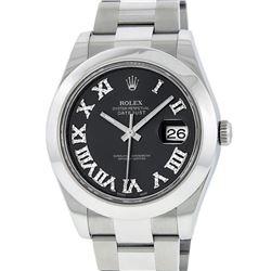 Rolex Mens SS 41MM Slate Roman Diamond Datejust 2 Oyster Band Wristwatch With Bo
