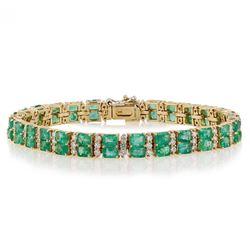 12.25 ctw Emerald and 2.20 ctw Diamond 14K Yellow Gold Bracelet