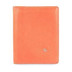 Chanel Orange Coral Camellia Bifold Card Holder Wallet