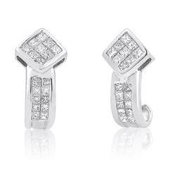 14k White Gold 1.02CTW Diamond Earrings, (SI2-I1/H-I)