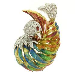 18k Yellow Gold Multi Color Enamel 46 Diamond Peacock Pin Brooch