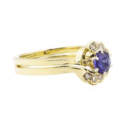 0.88 ctw Blue Sapphire and Diamond Ring Set - 14KT Yellow Gold