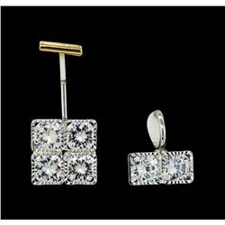 Tetris Crystal Earrings - Silver and Gold Plated
