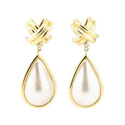 0.08 ctw Diamond and Mother of Pearl Dangle Earrings - 14KT Yellow Gold