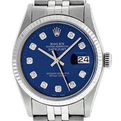 Rolex Mens Stainless Steel 36MM Blue Diamond Datejust Wristwatch