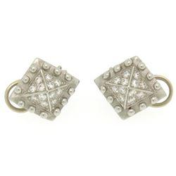 Barry Kieselstein Cord Platinum 0.50 ctw E VVS Diamond Pyramid Clip On Earrings