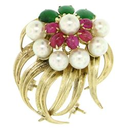 14K Yellow Gold 2.36 ctw Cabochon Ruby Jade 5mm Pearl Textured Flower Brooch Pin