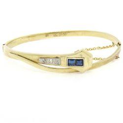 Antique Art Deco 14k Yellow Gold and Platinum Sapphire and Diamond Snake Bangle