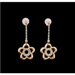 14KT Two-Tone Gold 0.11 ctw Diamond Earrings